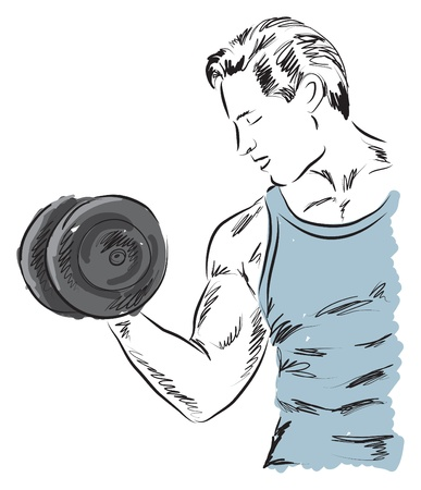 working out: fitness man working out exercising illustration