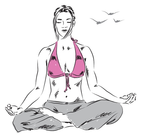 girl in yoga relaxing position illustration Vector