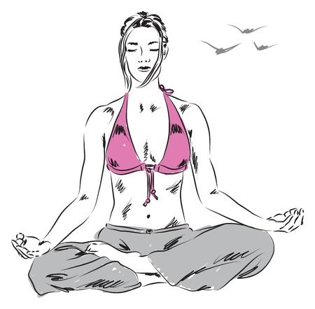 girl in yoga relaxing position illustration Stock Vector - 20270392