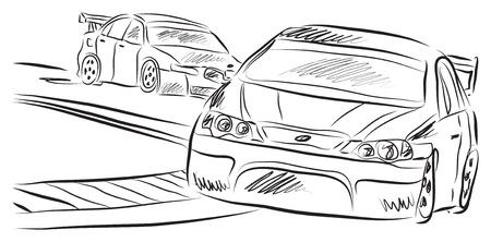 レース車イラスト  イラスト・ベクター素材