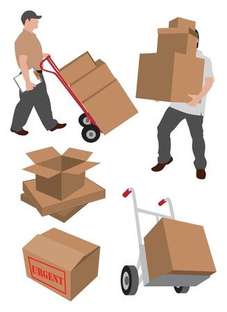 verhuis dozen: bewegende bezorgdiensten illustratie
