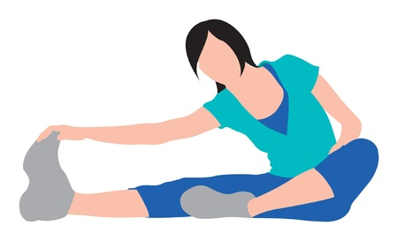 girl excercising and stretching illustration Vector