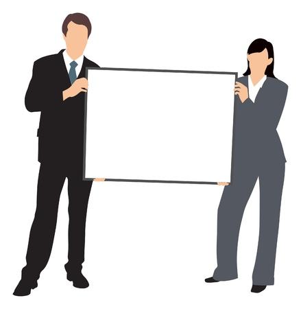 whiteboard: mensen uit het bedrijfsleven met whiteboard illustratie Stock Illustratie