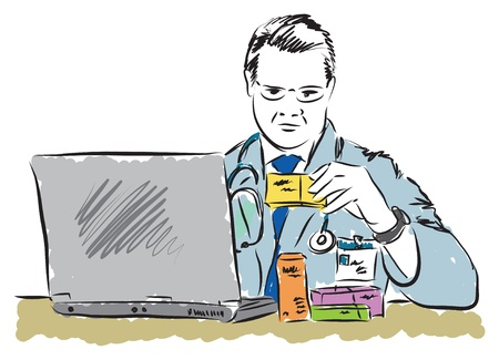 laptop: doctor looking at drugs box prescription with laptop pc computer illustration Illustration