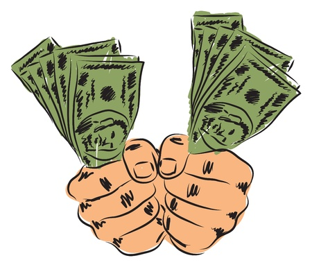 tough man: hands and money illustration