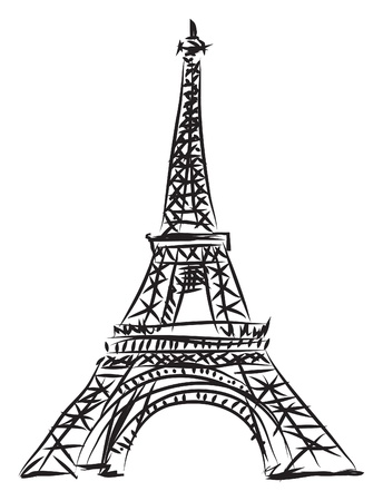landmarks: tour eiffel illustration Illustration