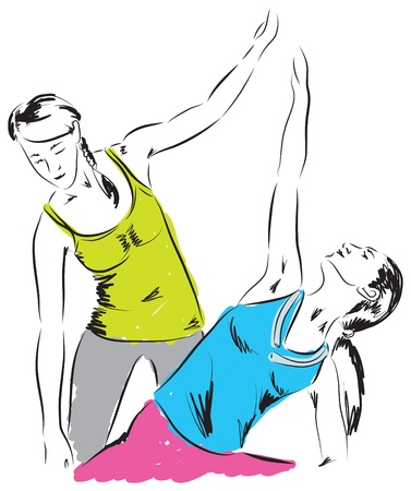 at the gym illustration