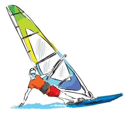 ウインド サーフィンの図  イラスト・ベクター素材