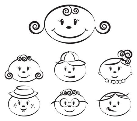 girls having fun: cute kids characters illustrations