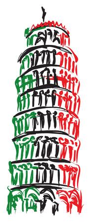 Pisa Tower Italy illustration