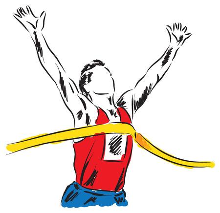 finish line: runner at the finish line winner illustration