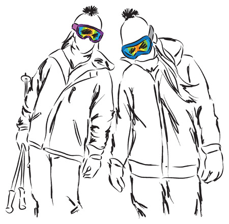 friends having fun: friends women ski equipment having fun illustration