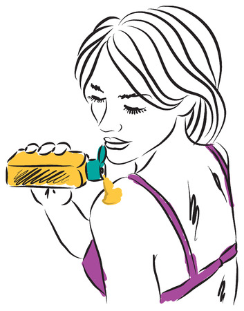 woman with sunscreen cream illustration