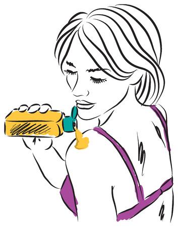 woman with sunscreen cream illustration