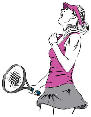 girl woman tennis player winner illustration Vector