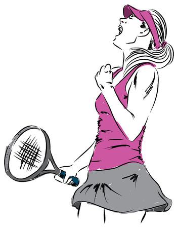 girl illustration: Mujer chica tenista ganador ilustraci�n