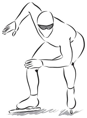 wintersports: speed skater 2 illustration