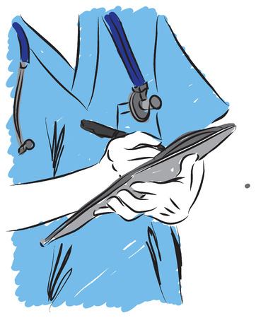 prescription: doctor writing prescription illustration Illustration