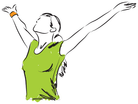 GIRL BREATHING FREEDOM ILUSTRATION Vector