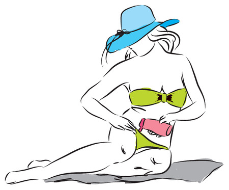 Lady sunscreen lotion cream protection illustration Vector
