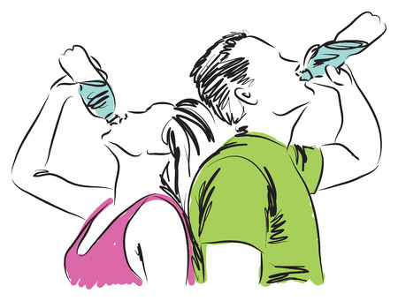 man drinking water: man and woman drinking a bottle of water illustration