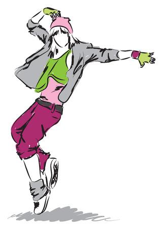 hip-hop dancer dancing illustration 4 Vector