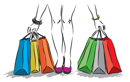 shopping girl 1 Vector