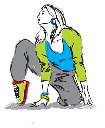 dancer hip-hop illustration1 Vector