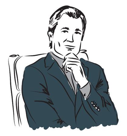 mature business man: business man illustration