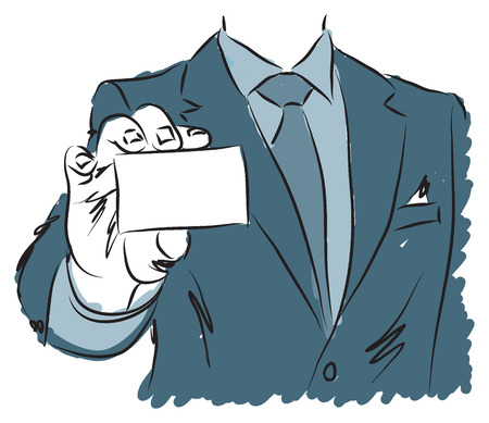 businesscard: businessman holding blank businesscard