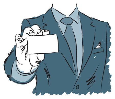 businesscard: businessman holding blank businesscard