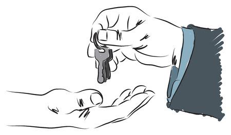 business man giving receiving keys illustration
