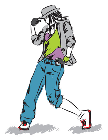 hip-hop dancer   Vector