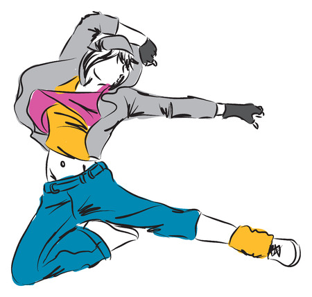 Hip hop Dancer F illustration Vector