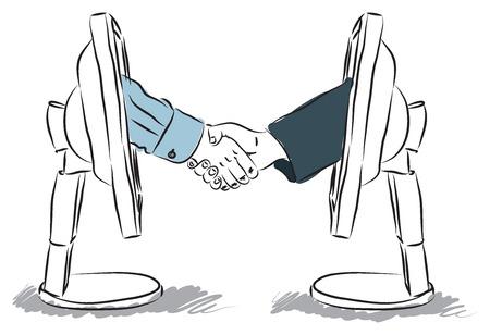 mature business man: virtual business shaking hands illustration