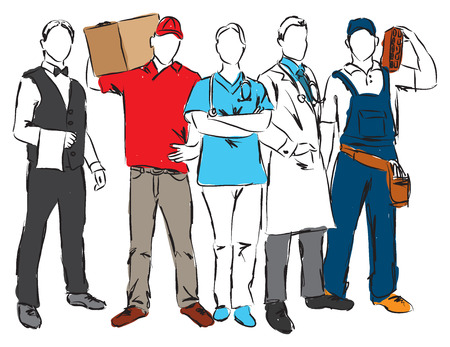 careers professional ocuppations illustration A Illustration