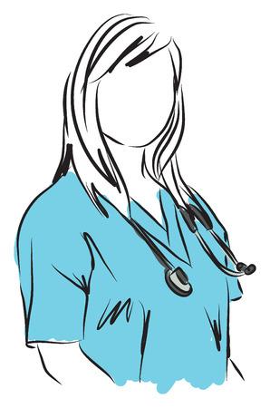 medische dienst verpleegster arts illustratie Stock Illustratie
