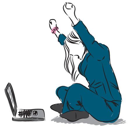 컴퓨터 승리 승자 승리 승리의 그림에서 여자 소녀