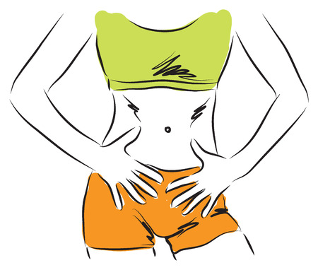 belly slim body diet lady woman illustration Vector