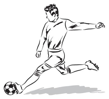pelotas de futbol: jugador de f�tbol de f�tbol ilustraci�n