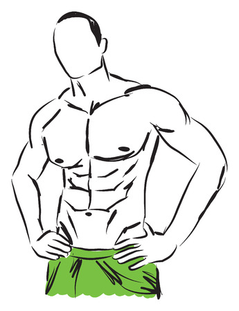 work-out man body fitness illustration Vector