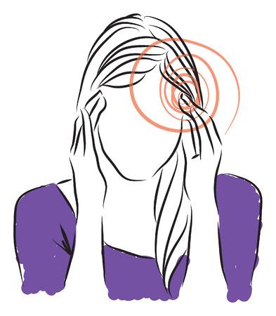 bocetos de personas: Mujer dolores de cabeza ilustración