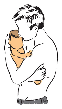 father and son illustration 2 Vector