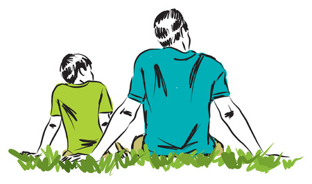 single parent: father and son illustration