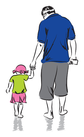 single parent: father and daughter illustration Illustration