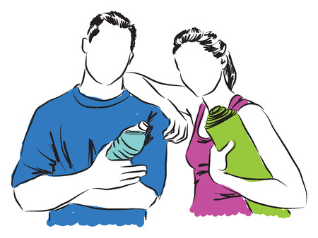 couple woman and man fitness illustration