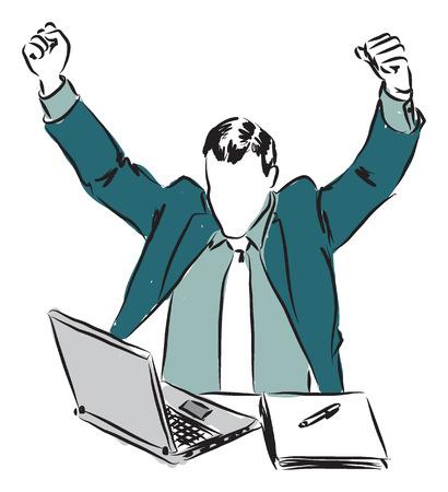 winner businessman with laptop illustration Illustration