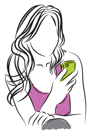 woman looking up: girl woman with a smartphone illustration