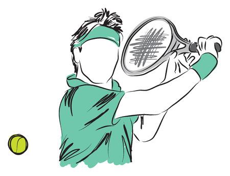 TENNIS PLAYER closeup illustration Vettoriali