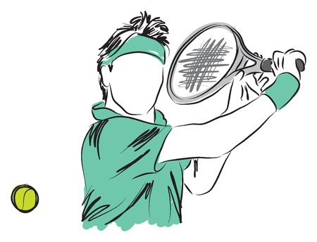 TENNIS PLAYER closeup illustration Illustration